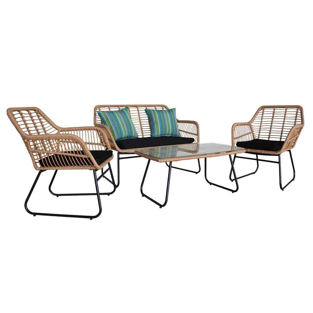 4pcs Outdoor Wicker Rattan Chair Patio Furniture Set With Table