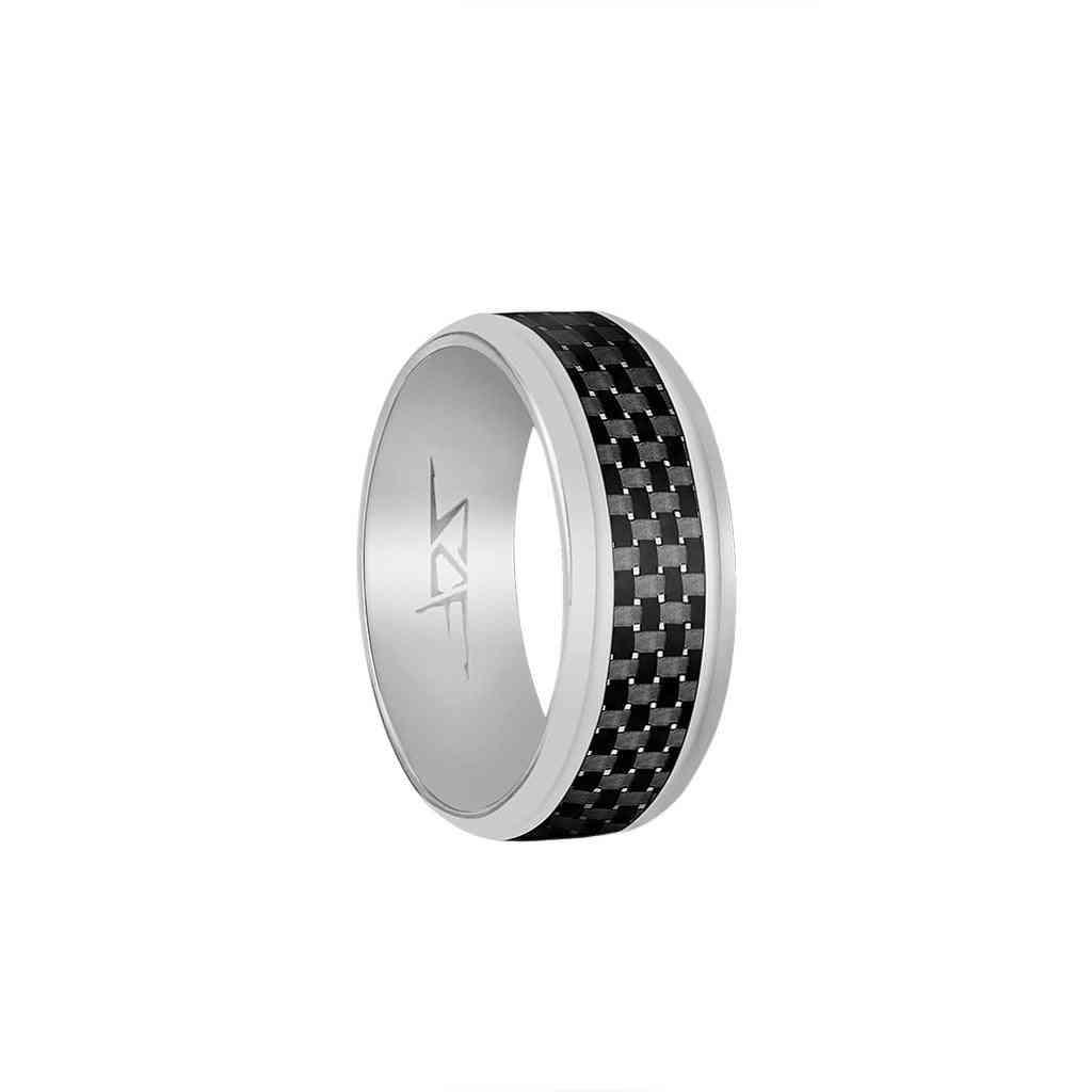 ?slate? Real Carbon Fiber Ring (silver)