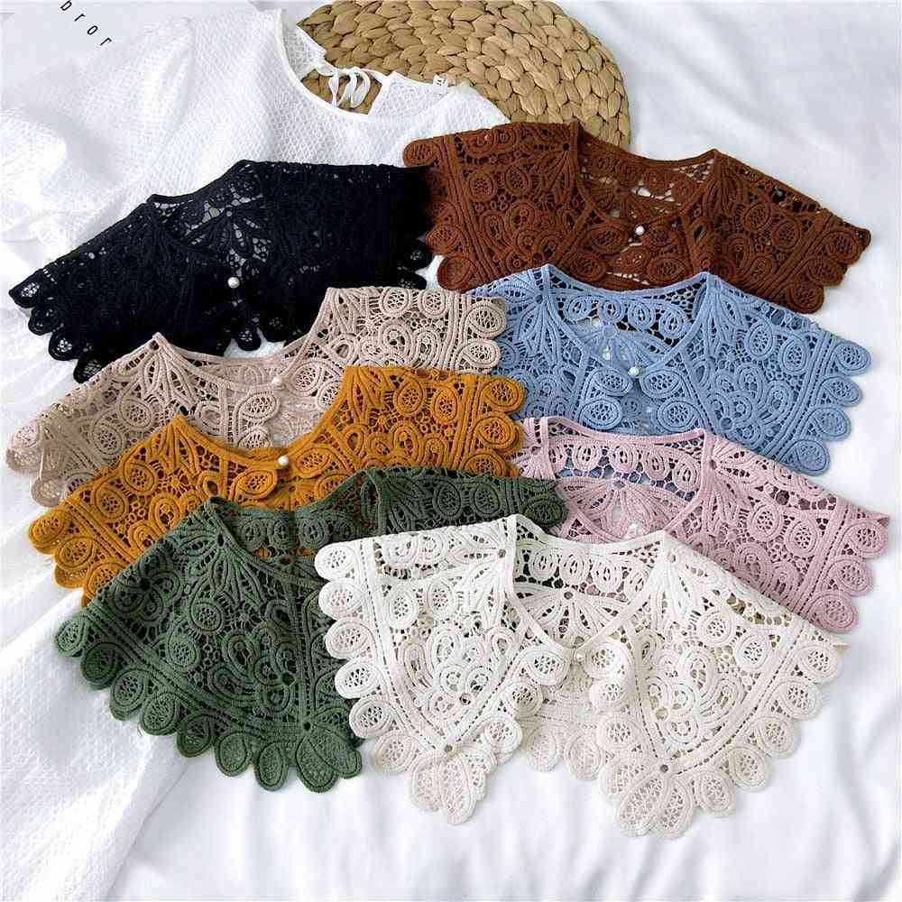 O-neck Doll False Shirt, Women Hollow Crochet Half Shirt