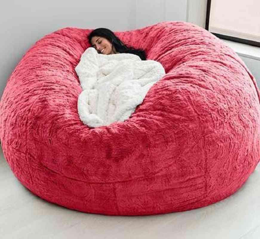 Giant Bean Bag Sofa Cover Soft And Comfortable Fluffy Fur Bean- Bag