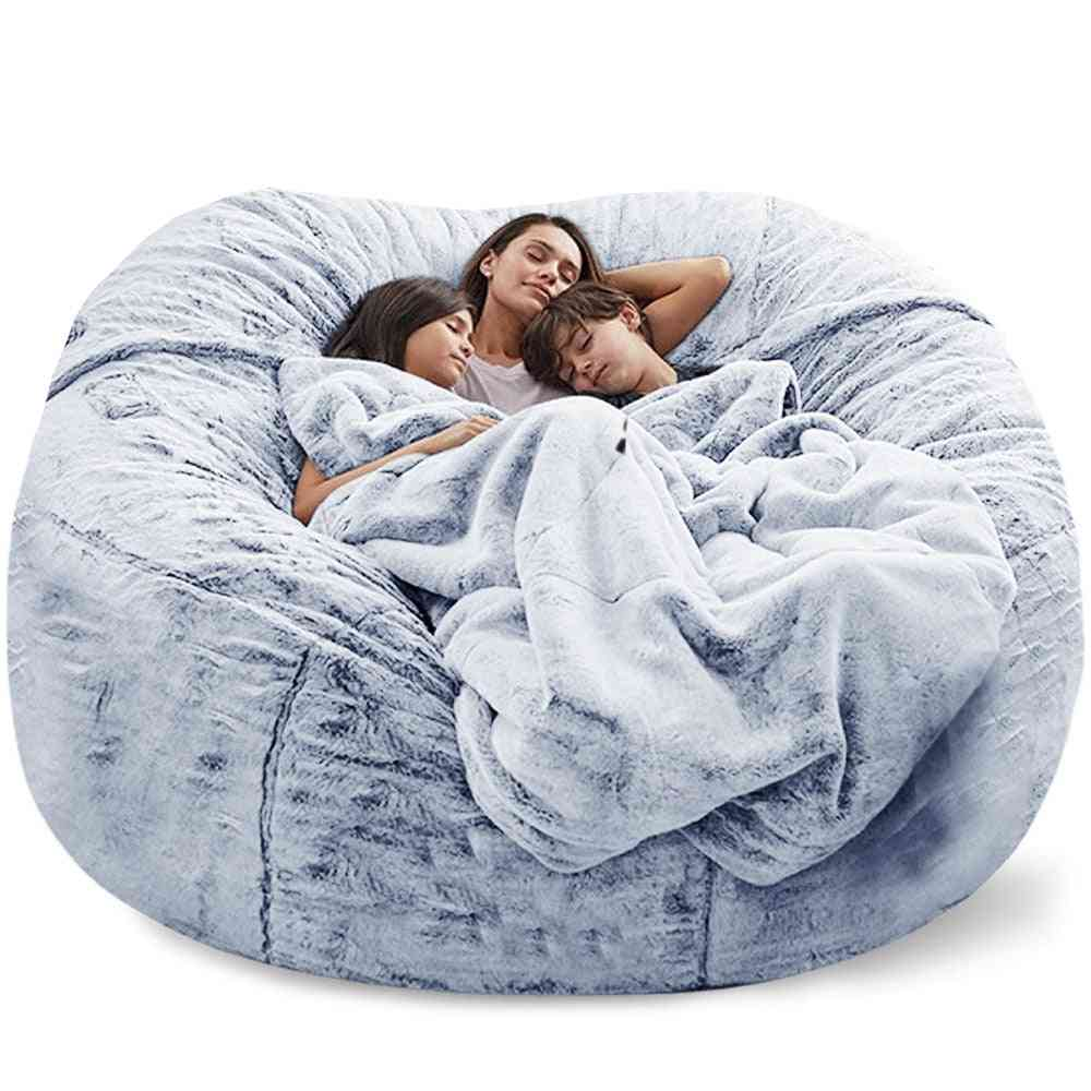 Giant Bean Bag Sofa Cover Big Comfy Fluffy Fur Beanbag Bed Slipcover