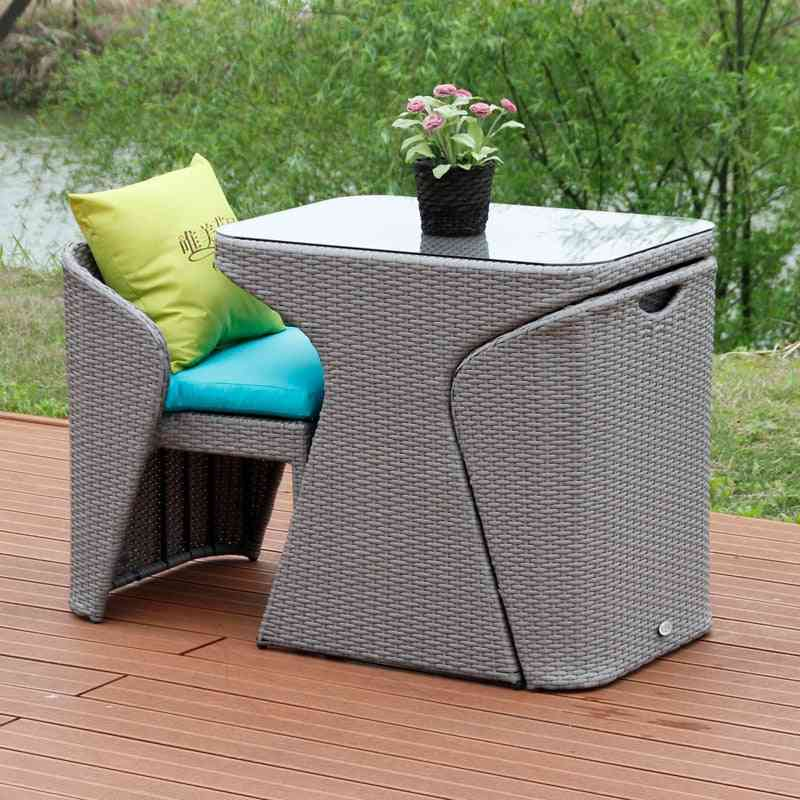 Wicker Chair Three-piece Tea Table Combination Patio Outdoor Small Round Table Chair Mini Creative Leisure Chair Balcony Table