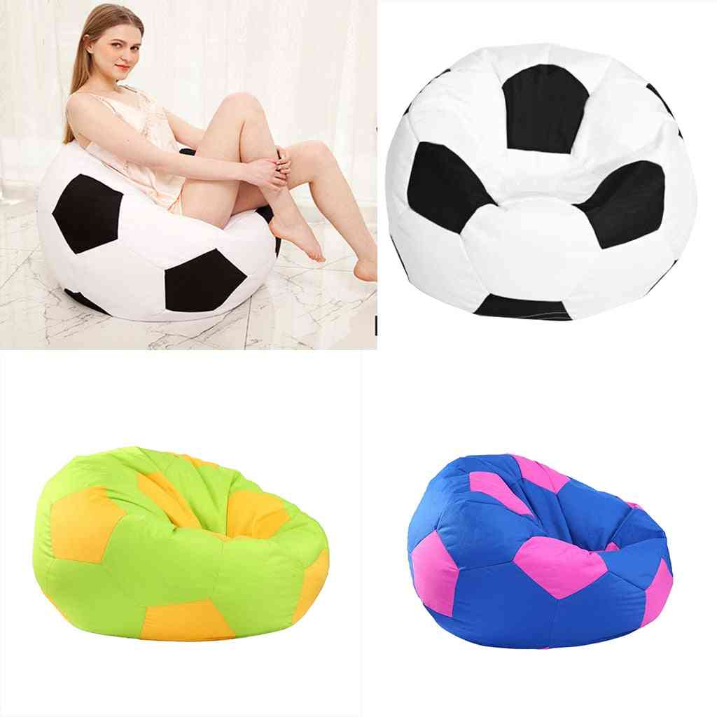 Extra Large Stuffed Animal Storage Bean Bag Chair Cover - For Toy Storage For Kids -football Printed