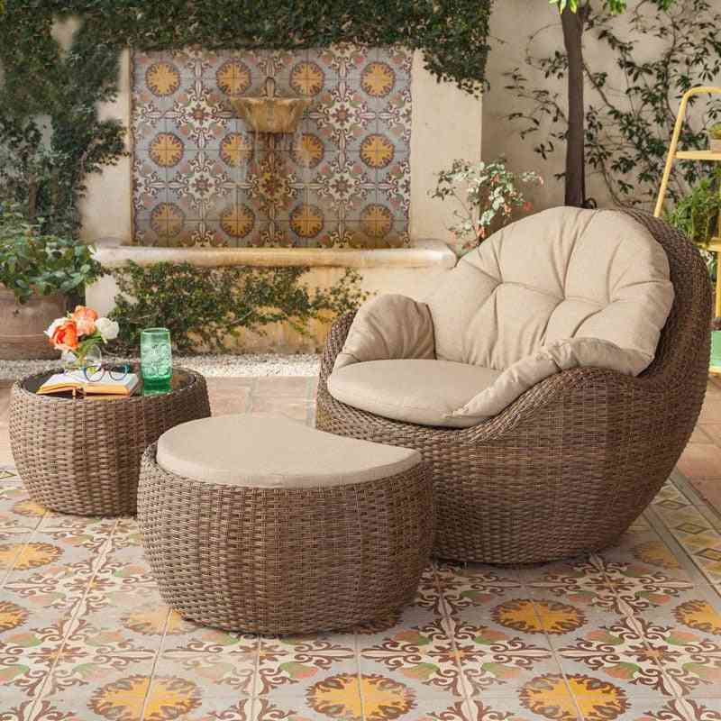 Cane Chair Sofa 3 - Piece Cover Outdoor Sofa