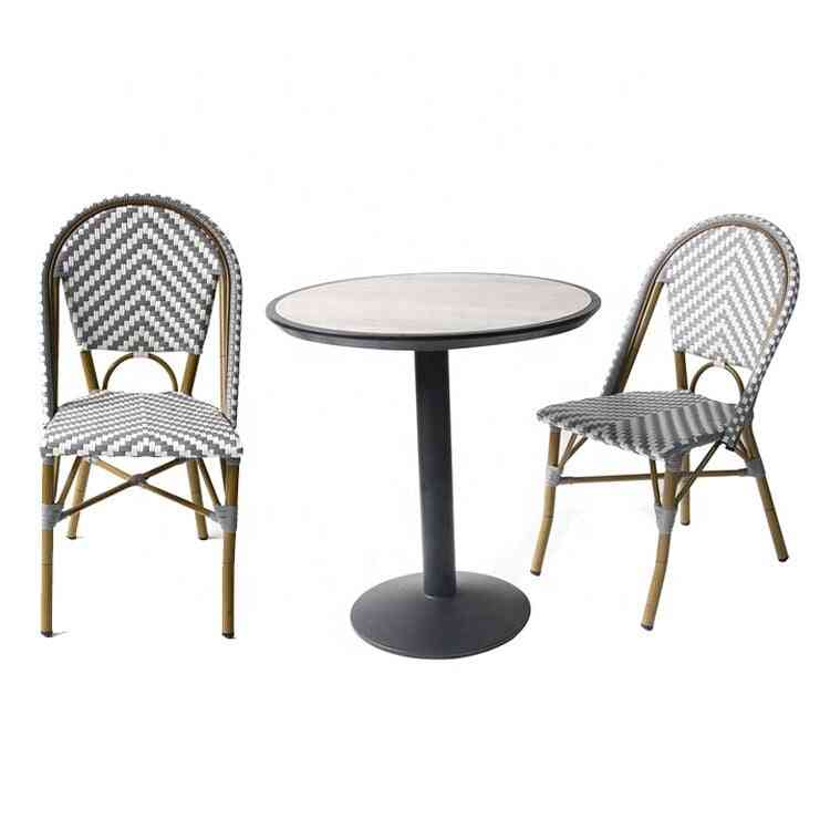 French Balcony Metal Pub Ceramic Dining Table 2 Chair Set