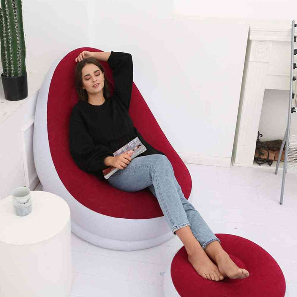 Simple 2 Set Pvc Portable Lazy Inflatable Sofa Outdoor Air Sofa Inflatable Outdoor Office Lunch Break Type Sofa With Charge Pump