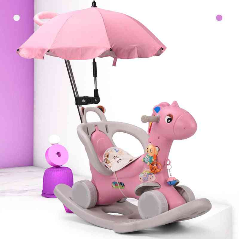 Children Rocking Horse, Thickening Plastic Ride On Animal With Safety Harness Seat, Music Baby Chair