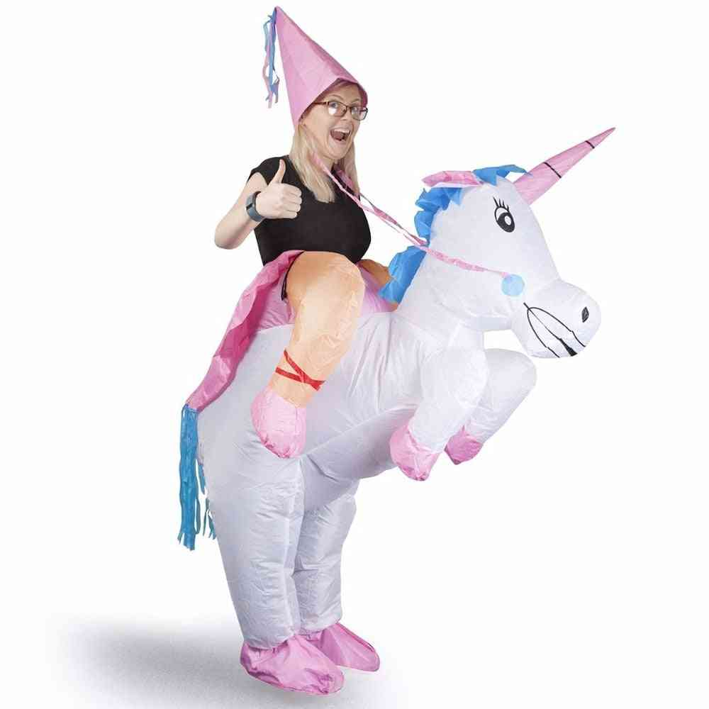 Inflatable Unicorn Costumes For Adult, Ride On Cosplay Suits, Animal Fancy Dress, Halloween Carnival Party, Airblown Costume Outfits