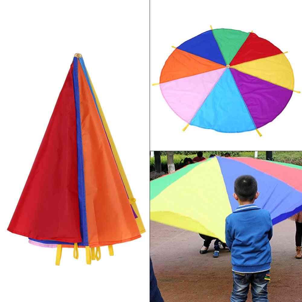 Kid,, Play Rainbow Umbrella Parachute, Outdoor Teamwork Game, Jump-sack, Play Development Toy