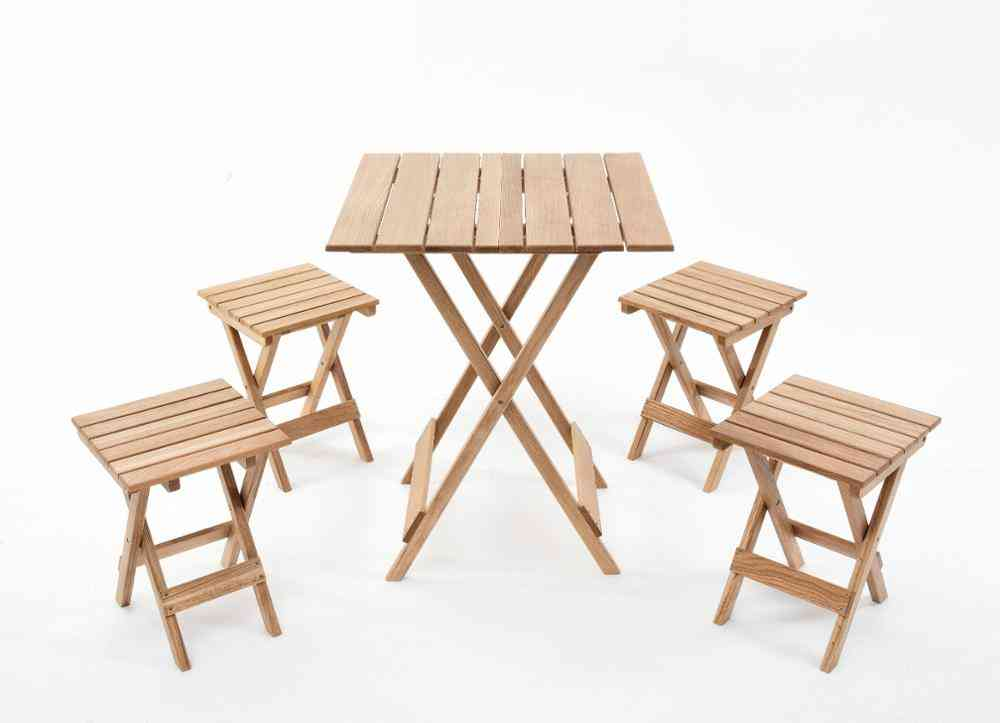 Wooden Solid Folding Table/ Stool, Balcony Table Style