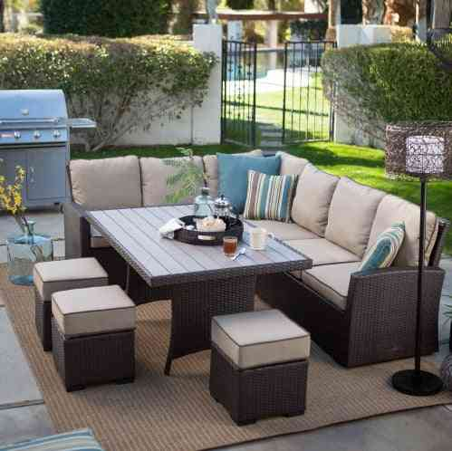 All Weather Furniture Wicker Sofa Sectional Patio Dining Set