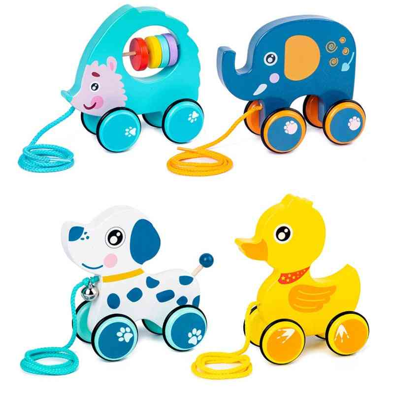Wooden Cartoon Animal Drag Car, Early Childhood Education Puzzle, Hand Pull Rope, Push-pull Walker, Building Block Toy