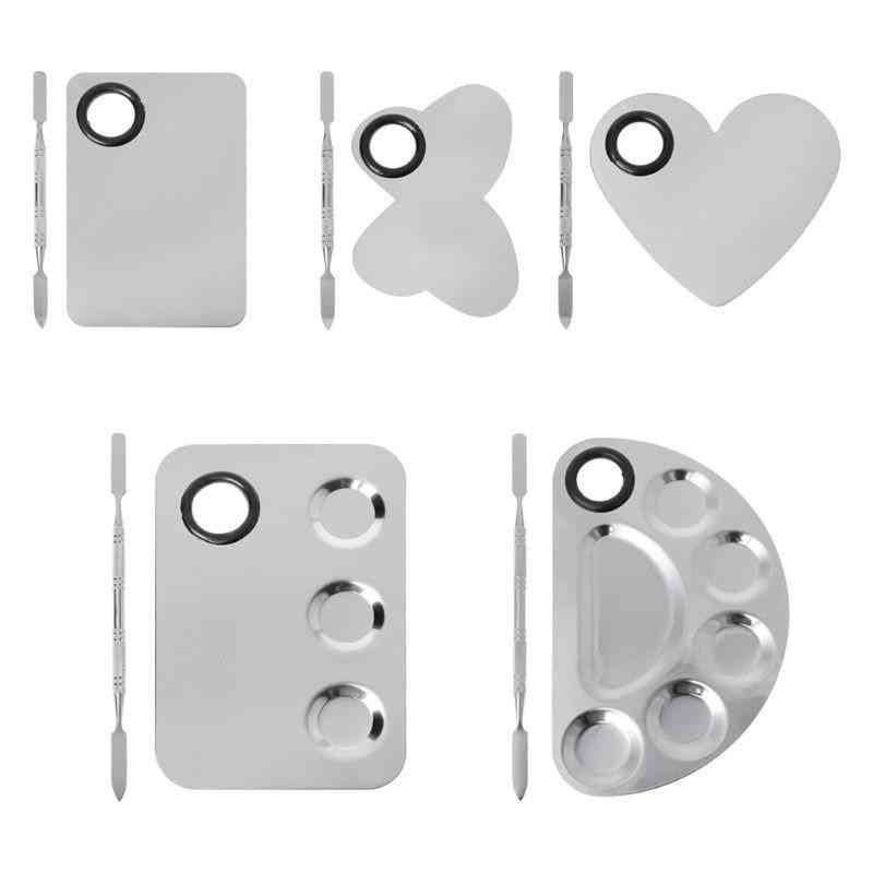 Stainless Steel Paint Palette Tray Mixing Rod Spatula Set