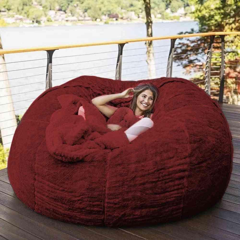 Living Room Furniture1 80cm Giant Fur Bean Bag /  Big Round Sofa Bed Cover 5997