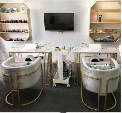 Iron Single Double Nail Salon Table And Chair Set