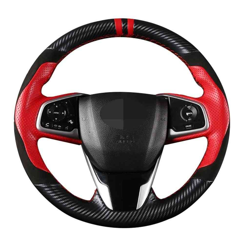 Diy Black Genuine Leather Suede Carbon Fiber Car Steering