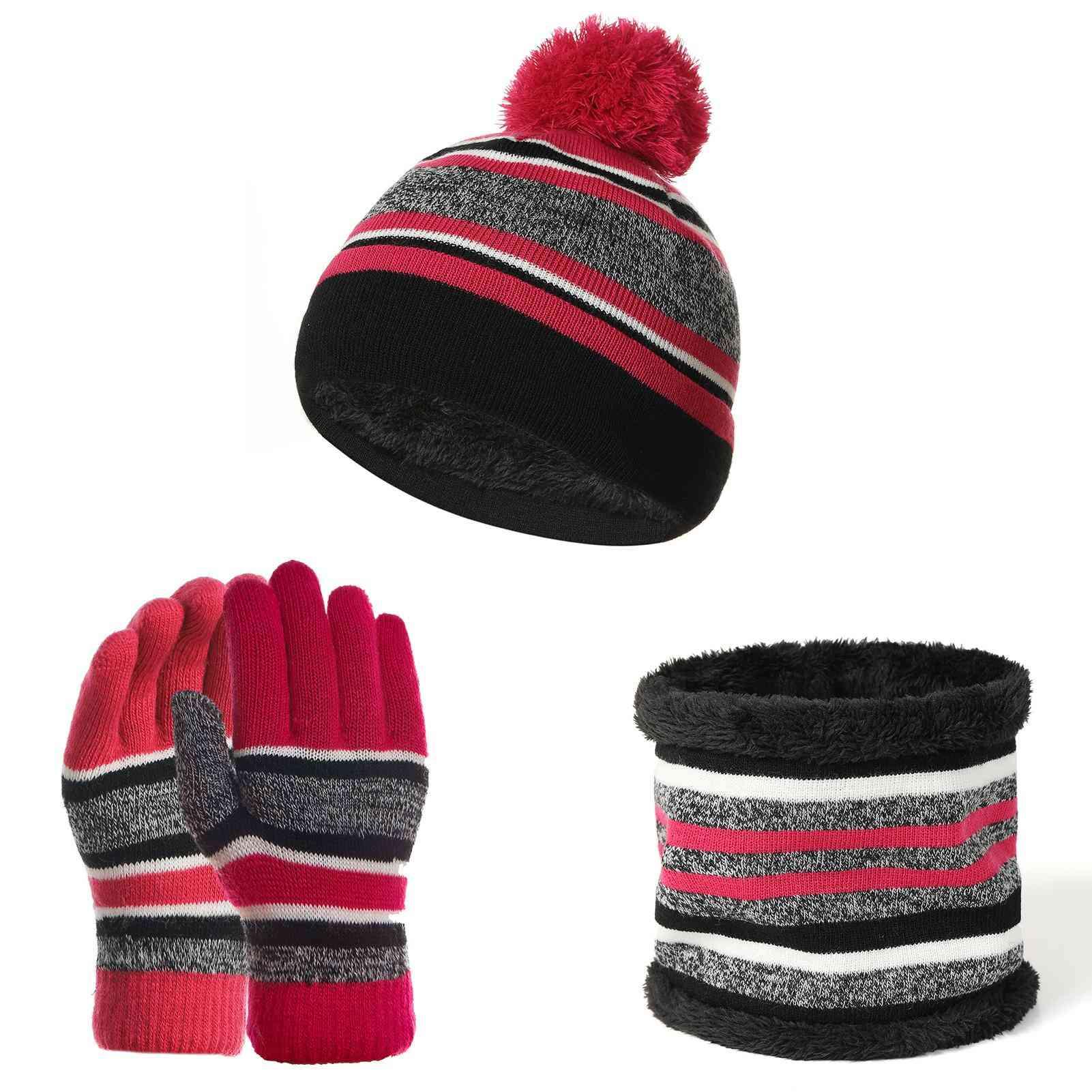 Kids Winter Woolen Hat Beanie Neck Scarf Gloves Warm Set