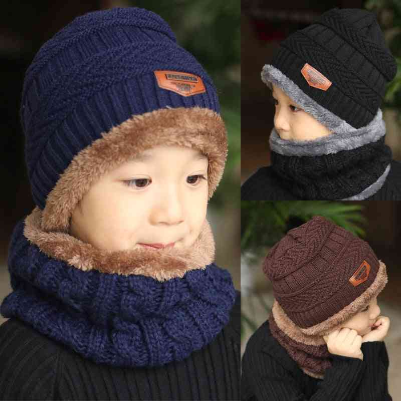 Children Winter Knitted Beanie Hat And Scarf Set