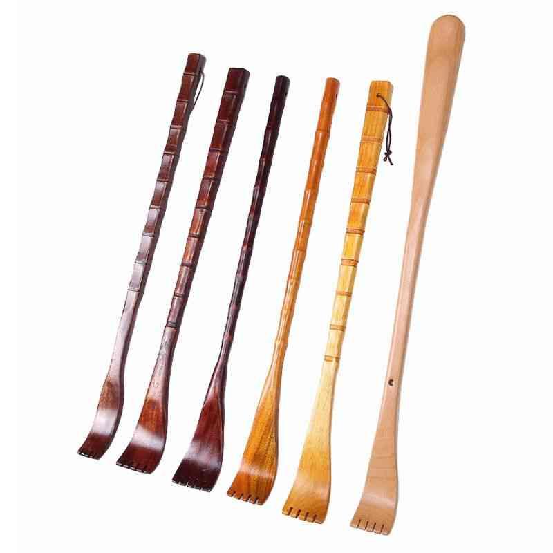 Long Natural Wood Back Scratcher, Massager Pen Clip Handy Manually Body Stick.