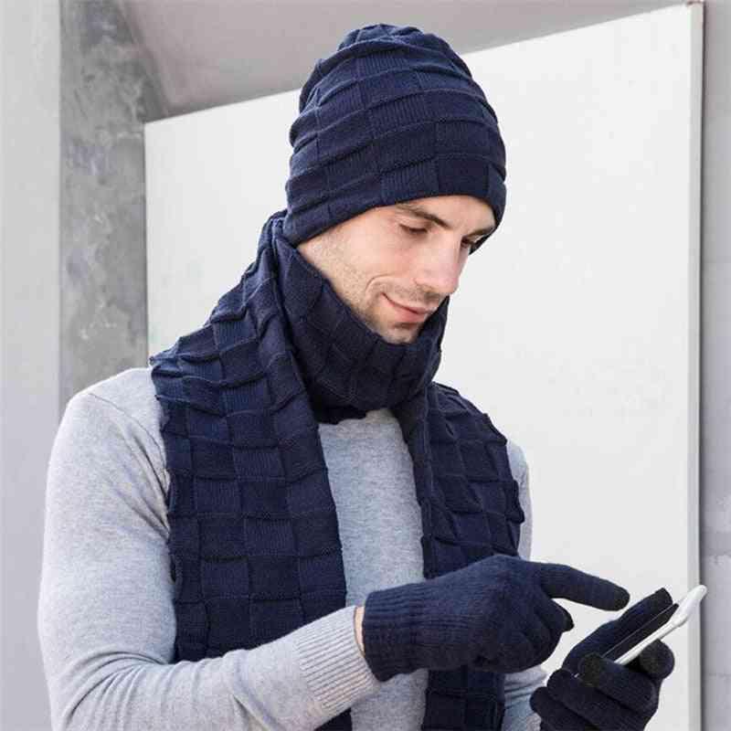 Men Knitted Long Scarf Hat Gloves, Man Winter Warm Cap