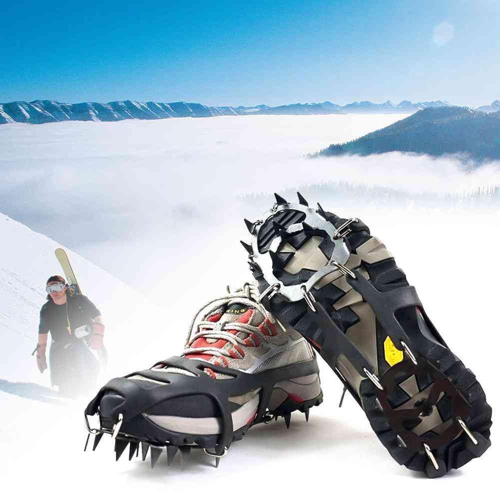 1 Pair 18 Teeth Anti-slip Ice Snow Boot Traction Cleat Spikes Crampon