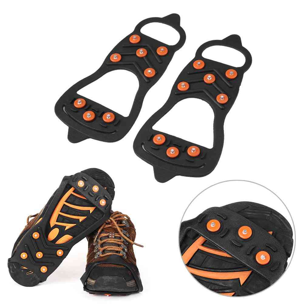 1pair 8 Studs Anti-skid Ice Snow Shoe Spiked Climbing Grips Shoes Cover