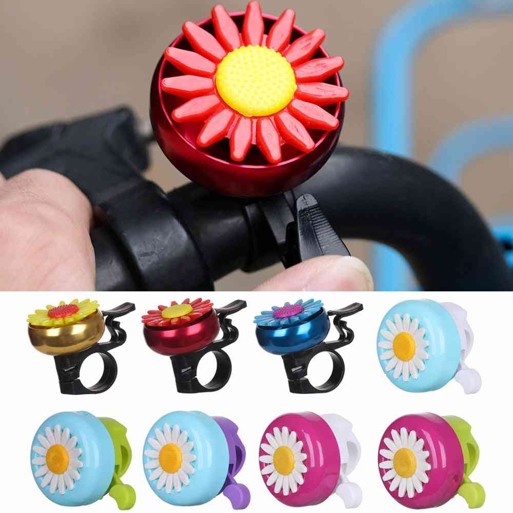 Kids Bicycle, Bell Horns, Bike Daisy Flowers, Cycling Ring Alarm For Handlebars