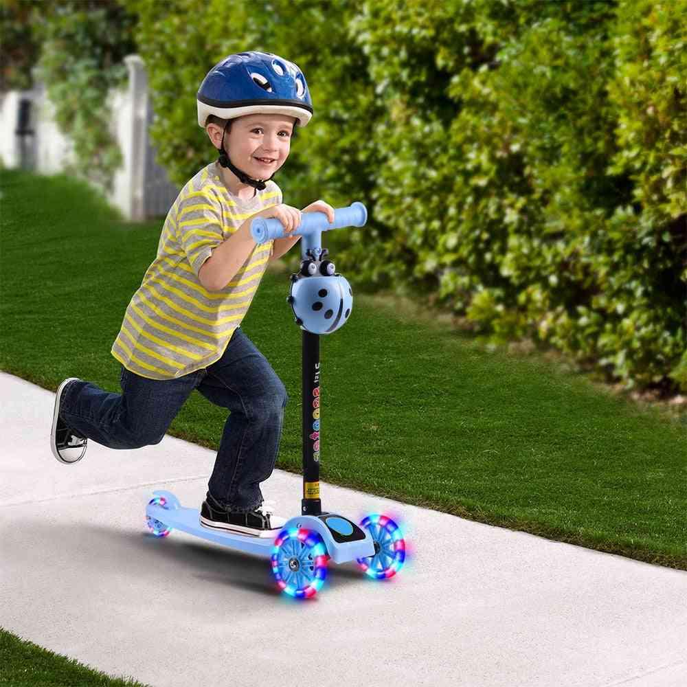 Kids Scooter, T Bar Balance, Riding Kick Scooters, Led Wheel, Adjustable, Birthday Fun, Sport Toy