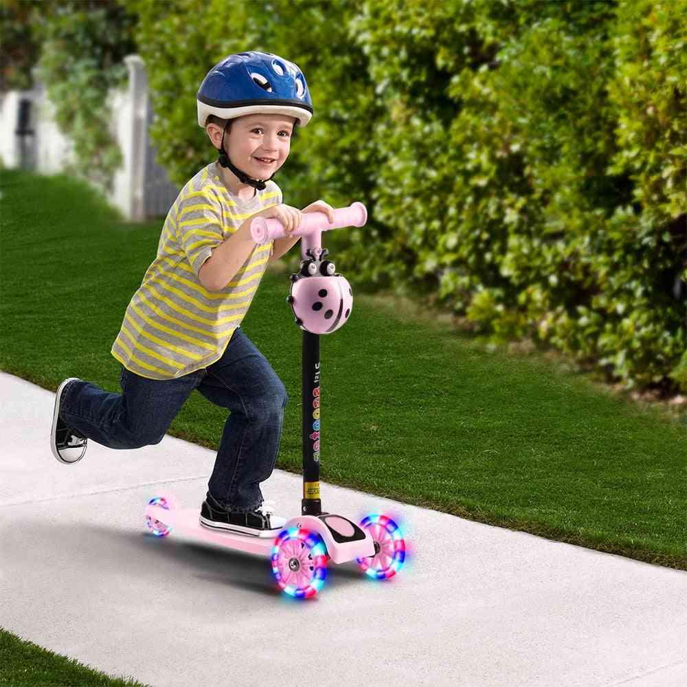 Child Scooter, Folding Foot Scooters, Led Shine Balance Bike, Adjustable Height, Skateboard Kick Sport Toy