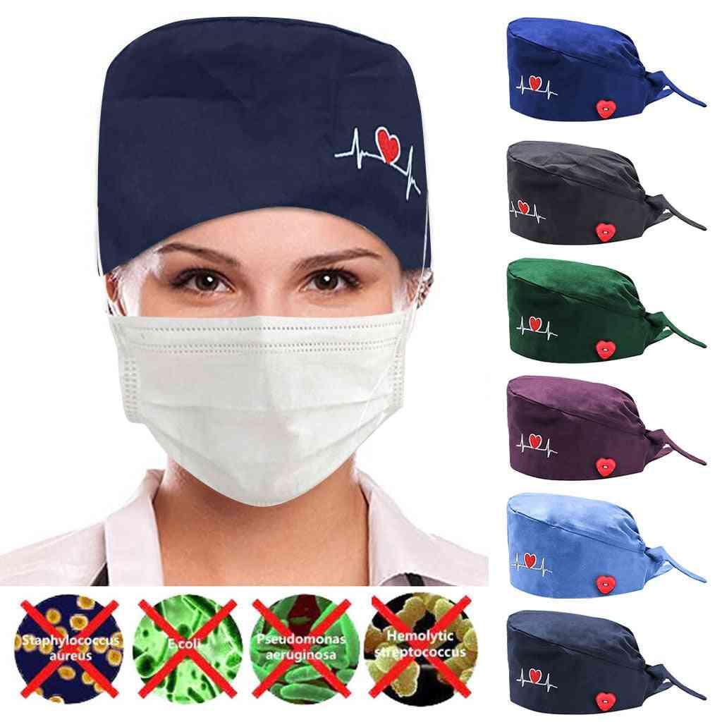 Fashion Button Nurse Hat, Unisex Frosted Cap