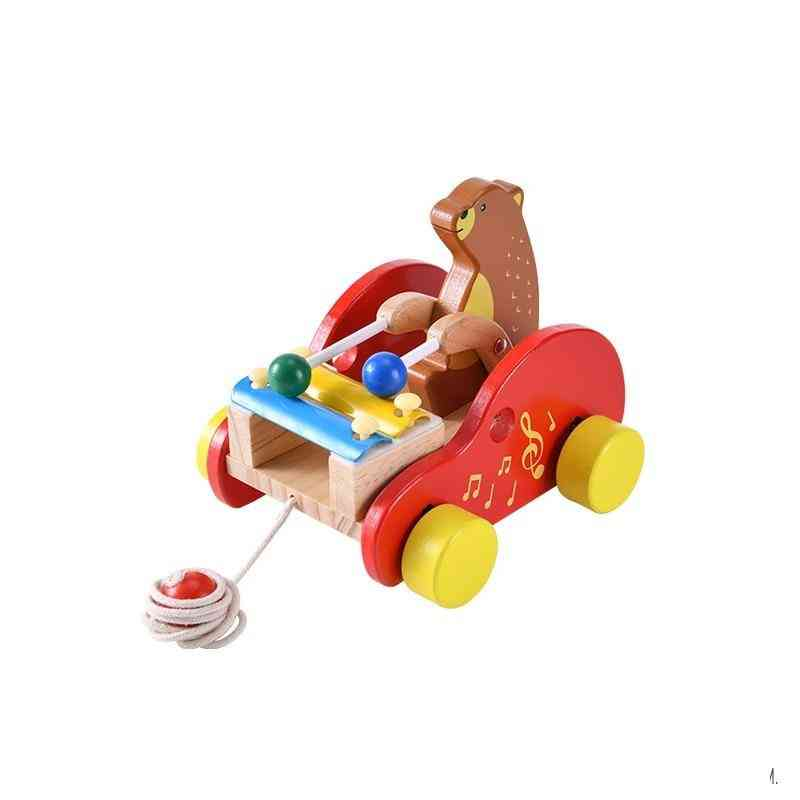 Baby Pull Line Little Bear, Wooden Drags Toy Car.
