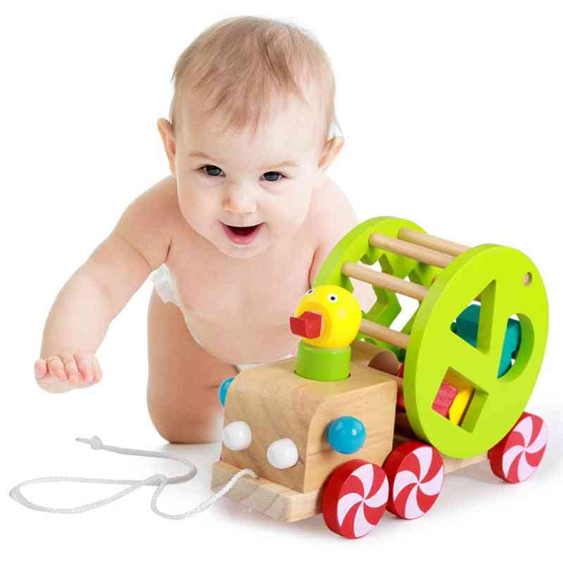 Children's Early Educational Drag Toy, Duckling Wooden Cart Baby Early Teaching Step.