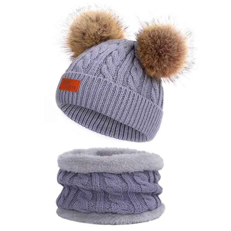 Baby Winter Hat Scarf Set, Double Fur Ball Cap