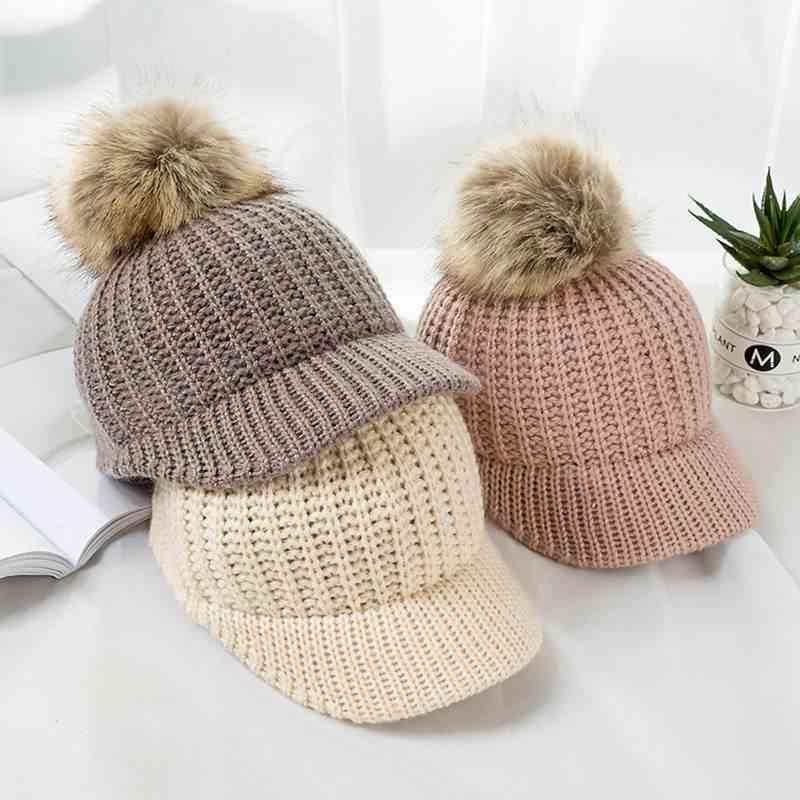 Knitted Pompom Baseball Cap, Winter-spring Hats