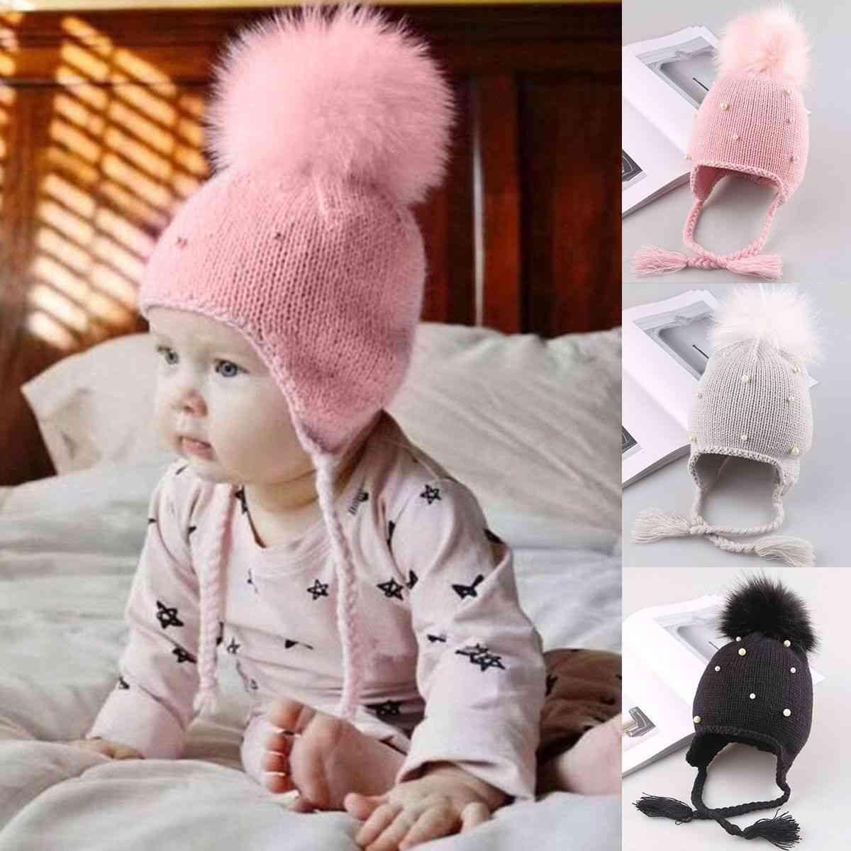 Newborn Baby Cute Pearl Hats Hair Ball, Winter Cap