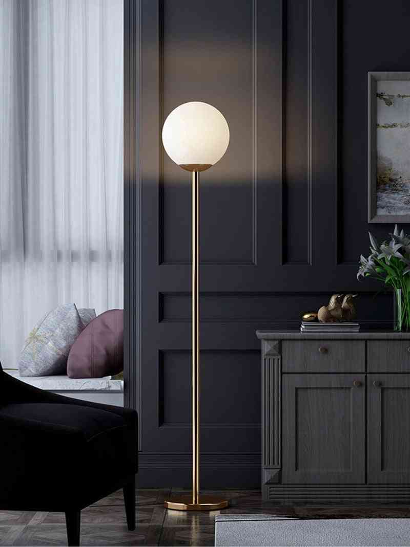 Frosted Glass Ball Standing Lamp E27 Floor Lamp