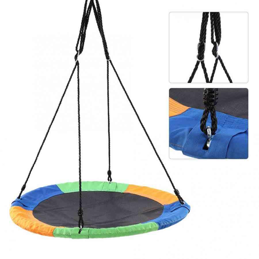 Round Hanging Tree Swing Chair Kid Backyard Play Equipment Outdoor Round Mat.