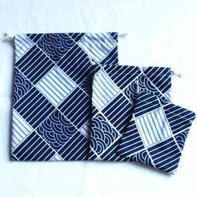 Printed Cotton Linen Drawstring Bag, Tea Candy Packaging- Bags