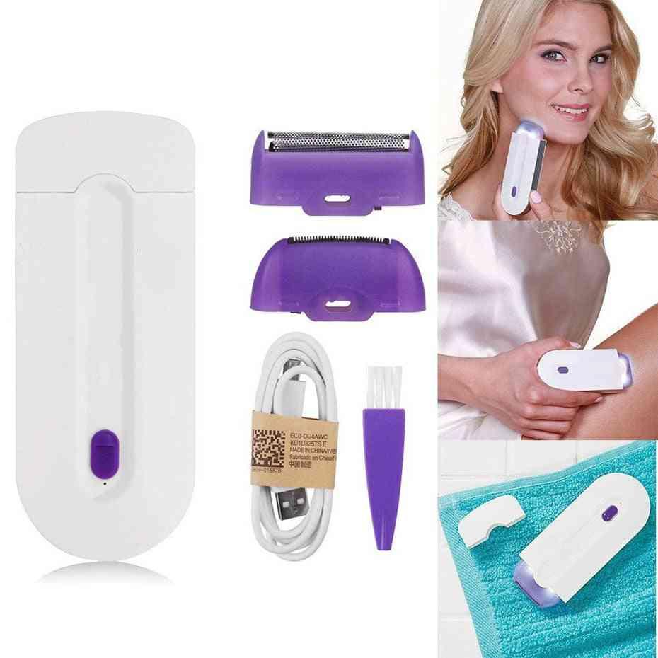 Electric Epilator Women Hair Removal, Painless Shaver Instant & Painless Free Sensor Light Usb Recharge.