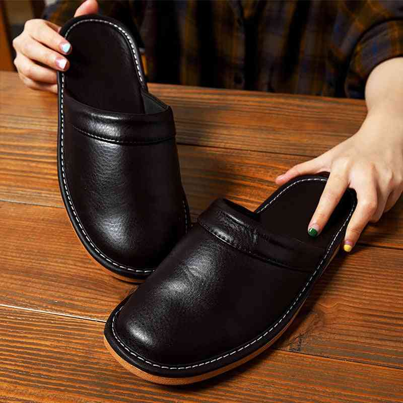 Men Indoor Home Style Flat High-quality Unisex Leather Slippers