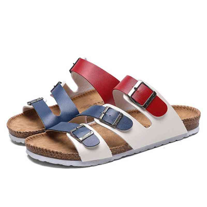 New Summer Fashion Beach Cork Casual Buckle Leather Slip-on Shoes