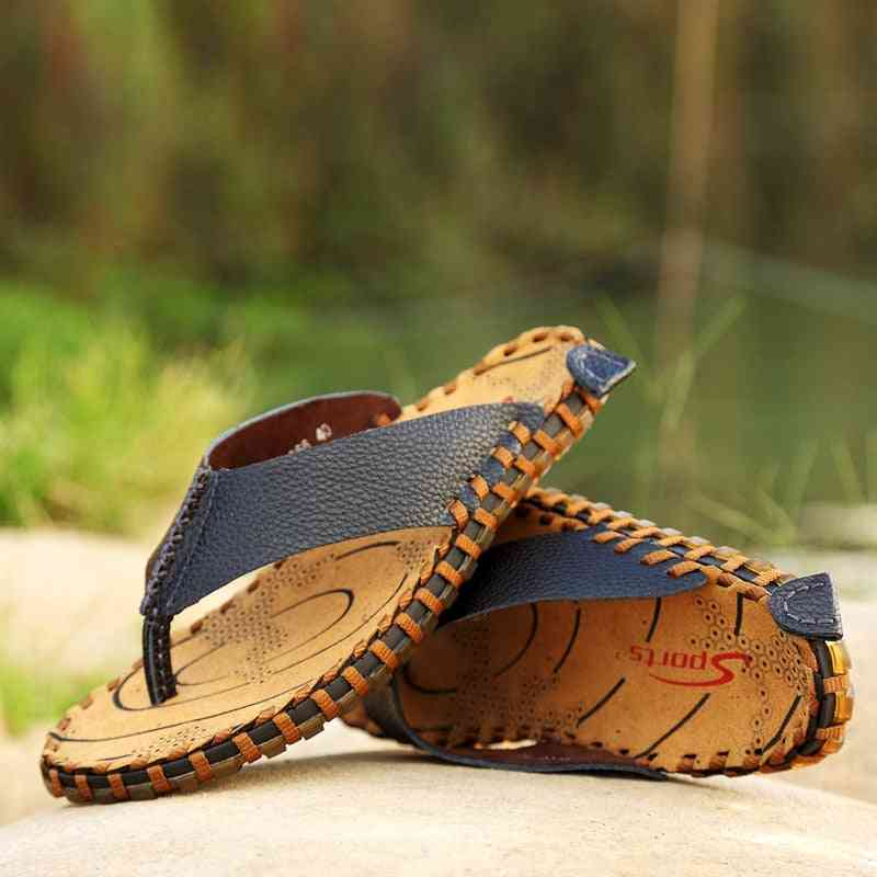 New Summer Genuine Leather Cool Beach Slippers