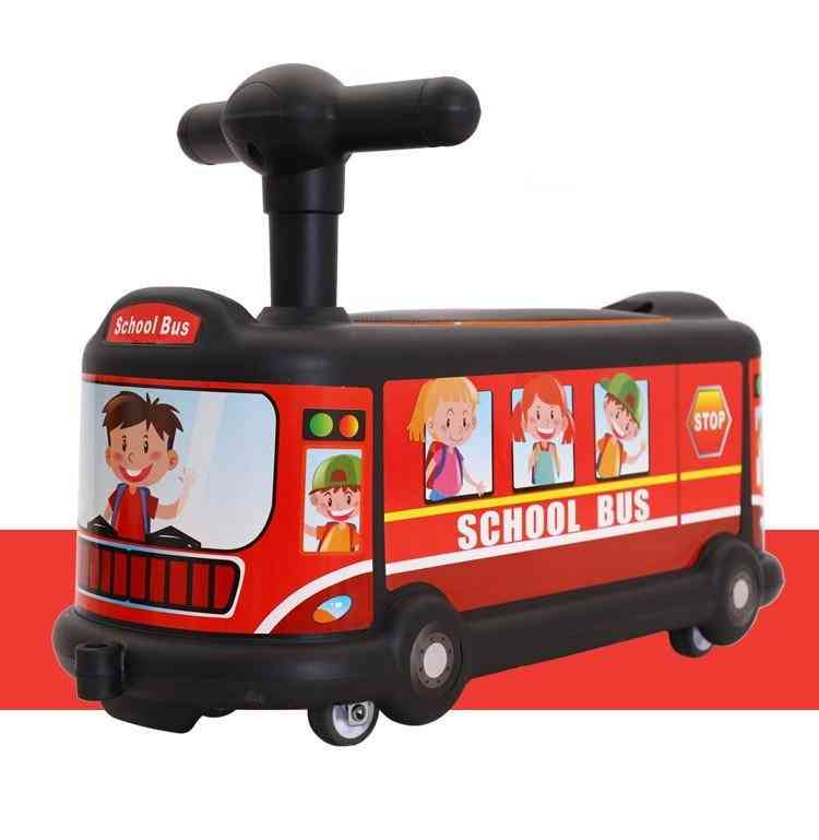 Bus Cartoon's Twisting Car 1-3 Years Old Baby Rolling Car Universal Silent Roller Skating Ride