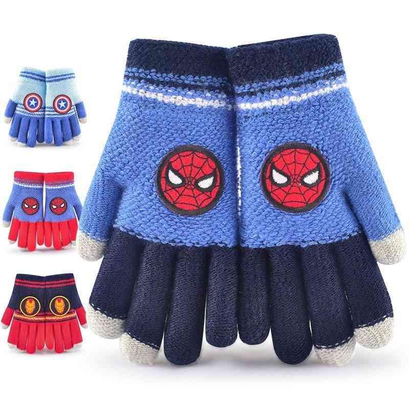 Autumn And Winter Woolen Half-finger Full-finger Warm Pupils's Gloves