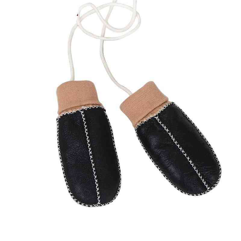 Warm Winter Mittens For Kids Real Sheep Fur Gloves
