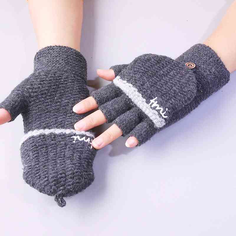Kids Half Finger Warm Knitted Stretch Touch Screen Winter Gloves