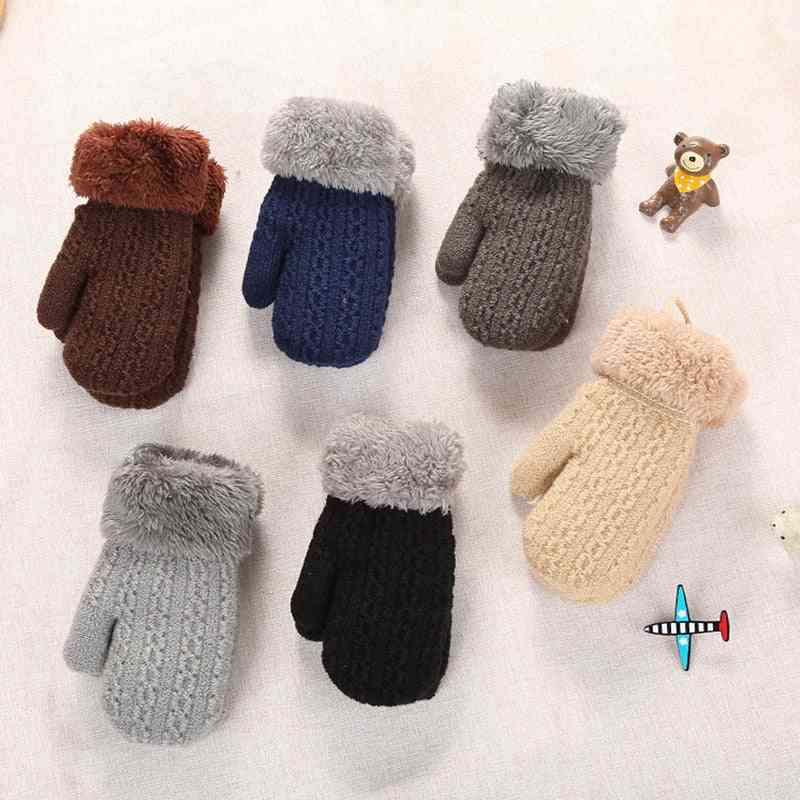 Kids Autumn Winter Double-layer Knitted Gloves