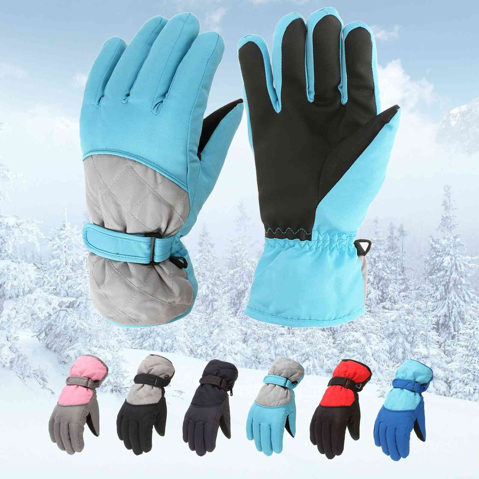 Kids Fashion Winter Warming Snow Windproof Mittens Simple Outdoor Sports Skiing Mittens Gloves  For Age 6-11 Years