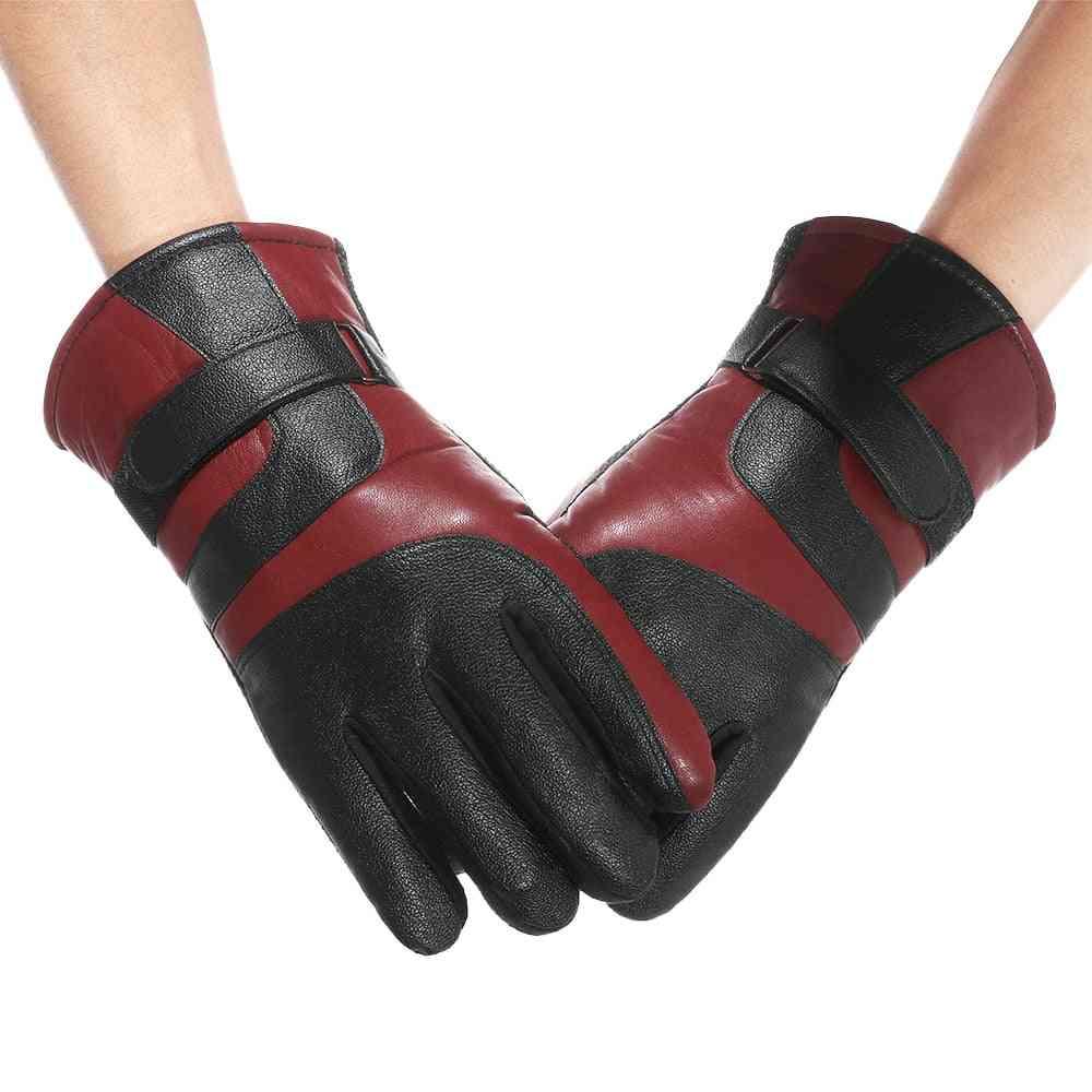 Unisex Winter Leather Velvet Gloves