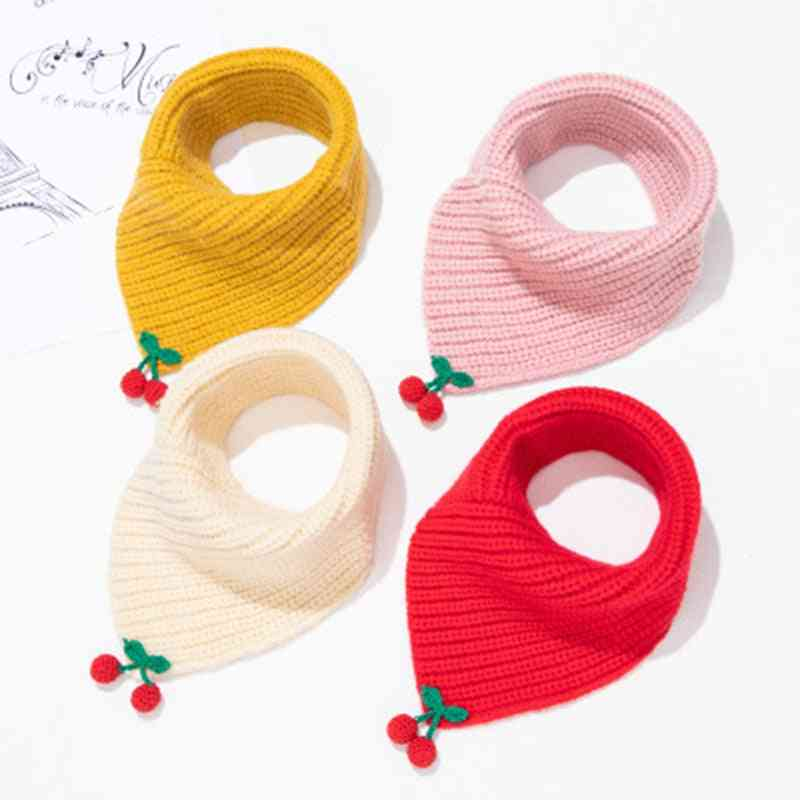 Children's Wool Windproof Collar Cute Cartoon Cherry Knit Baby Ring Neck Scarves Winter Elastic Thick Warm Scarf